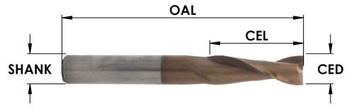 2 Flute Spiral Upcut MOAB Coated bit