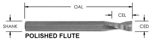O Flute High Helix Bit, 2 Flute, Polished O Flute CNC router bit