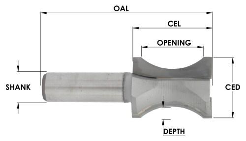 Carbide Tip Oval Edge Half Bull Nose Bit, CNC Router Bit