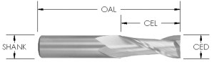 Spiral Upcut Bit, 2 Flute, Solid Carbide CNC Router bit