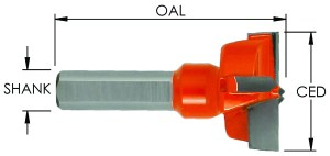 Left-Hand Hinge Bit, Carbide Tipped CNC Router Bit / Drill 57mm OAL